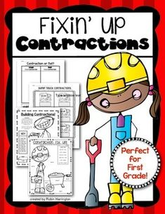 Fixin' Up Contractions Pack! First Grade ELA. $