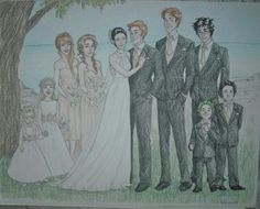 George and Angelina getting married. L-R: Victoire, [no idea], Ginny, Hermione, Angelina, George, Ron, Harry, Teddy, [no idea]