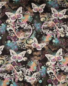 Michael Miller Stoff Filigree Flutter Schmetterlinge - Tierstoffe - Stoffe - kawaii shop modeS4u