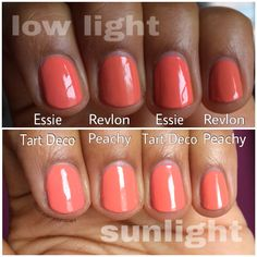Essie Tart Deco vs. Revlon Peachy. DUPES!