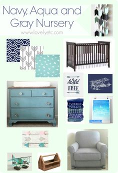 Navy aqua and gray nursery plan - full of vintage charm and modern fabrics.