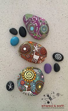 Tribal Inspired Art - Cave Painting Motifs - Rock Art - Natural Home Decor - Hand Painted River Rocks - Nature Art - Free US Shipping - ethereal & earth