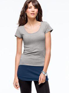 Colorblock Cap-sleeve Tunic