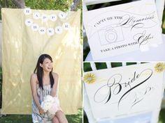cute bridal shower photo booth | cute backyard photo booth