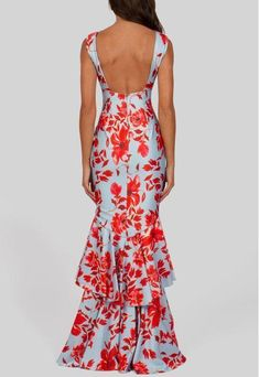 Print Evening Dress Sexy Deep V Dress Maxi Dress – 8 Banana Gala Dresses, Event Dresses, Sexy Dresses, Fashion Dresses, Summer Dresses, Deep V Dress, Cocktail Outfit, Glamorous Dresses, Tropical Dress