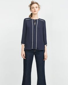 Image 1 of CONTRAST BLOUSE from Zara