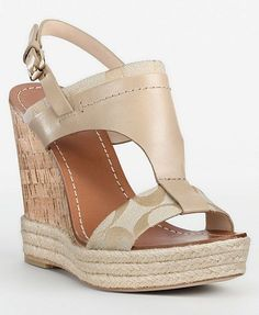 coach wedge shoes for women | Coach Mendez Womens Signature Wedges Slingback Heels Shoes MSRP $158 ...