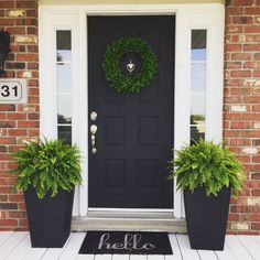 53 Best Spring Front Porch Decorating Ideas – Decorating Ideas - Home Decor Ideas and Tips - Page 46 Front Door Planters, Front Door Porch, House Front Door, House With Porch, Front Door Decor, Front Porch Decorations, Front Porch Flowers, Fromt Porch Decor, Fromt Porch Ideas