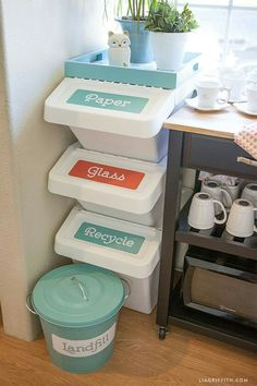 recycling bins in the corner of the kitchen. i believe the bins are from ikea. nice ikea,BUT not as close to the cups Small Kitchen Organization, Home Organisation, Kitchen Storage, Kitchen Decor, Kitchen Ideas, Bathroom Storage, Decorating Kitchen, Organizing Ideas, Kitchen Office