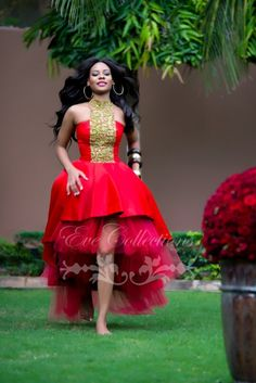 dress cocktail dress on sale at reasonable prices, buy Tanzanian Designer Red Hi-Lo Prom Dresses 2017 Gold Beaded High Neck Plus Size Ankara Ghana Women Dress Party Evening Gowns from mobile site on Aliexpress Now! African Dresses For Women, African Print Dresses, African Attire, African Wear, African Women, African Beauty, African Prints, African Style, African Outfits