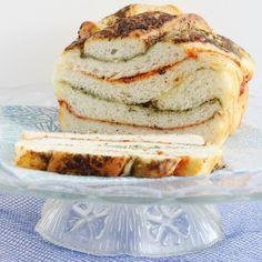 Roasted Red Pepper & Pesto Swirl Bread