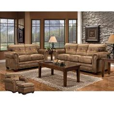 American Furniture Classics Wild Horses 4 Piece Living Room Set with Sleeper Sofa Tuscan Design, Rustic Living Room, Western Living Rooms, Furniture, Western Decor, Room Set, 4 Piece Living Room Set, Living Room Sets Furniture, American Furniture