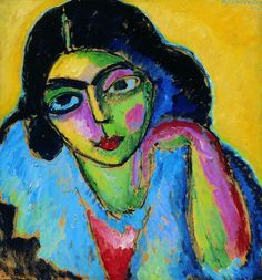 Alexej von Jawlensky (Russian-German, 1864-1941) Black hair in yellow background (Schwarze Haare in gelbem Hintergrund), 1912 Oil on canvas