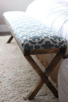 super easy diy x upholstered bench, reupholster, woodworking projects - DIY Möbel Home Bedroom, Bedroom Furniture, Home Furniture, Bedroom Decor, Bedroom Ideas, Furniture Stores, Rustic Furniture, Bedroom Seating, Concrete Furniture