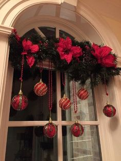 christmas decorating Easy DIY hanging window ornaments using beads and garland. Elegant Christmas decoration idea for mantle. Great budget decor idea for the home, winter wedding, or Christmas party. Diy Christmas Decorations For Home, Elegant Christmas Decor, Classy Christmas, Christmas Home, Christmas Holidays, Christmas Wreaths, Office Christmas, Xmas Window Decorations, Apartment Christmas