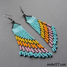 Long earrings from the Czech and Japanese beads.