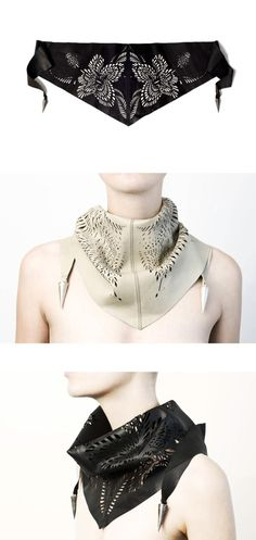 This is something I've never seen before! A leather scarf with a unique lasered Scarab design. You can see it's inspired from paper-carving art. What I like the most is the metal pendants on the end, it's so cute! Definitely a unique piece!