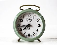 Vintage French JAZ  Alarm clock  Almond green by RueDesLouves, $85.00