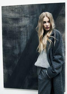 Herringbone wool coat and pants by Altewai Saome. Knitted shirt by Velour