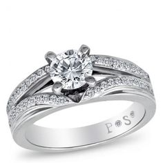 PassionStone Couture, 18K White Gold Diamond Semi-Mount, 5/8 ctw. With CZ Center Stone