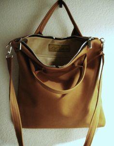 Salted Caramel Leather Urban Tote Bag Laurel door DalleMieMani
