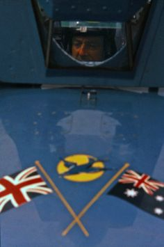 Donald Campbell in the cockpit of Bluebird CN7
