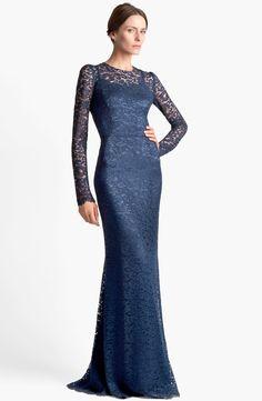 Dolce & Gabbana Long Sleeve Lace Gown in Blue (Dark Blue)