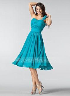 Bridesmaid Dresses - $108.99 - A-Line/Princess One-Shoulder Knee-Length Chiffon Bridesmaid Dress With Ruffle Flower(s) (007005218) http://jenjenhouse.com/A-Line-Princess-One-Shoulder-Knee-Length-Chiffon-Bridesmaid-Dress-With-Ruffle-Flower-S-007005218-g5218