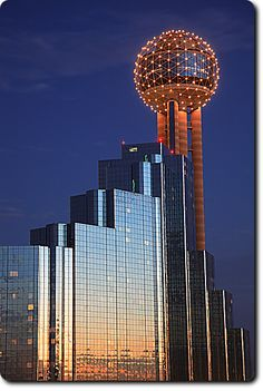 The Reunion Tower and The Hyatt Regency Hotel, Dallas, Texas.