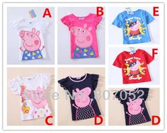 Free Shipping only for retail 6 style George peppa pig kids short sleeve tops boys grils tops t-shirts peppa's cotton 1-6T GP202
