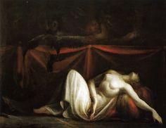 Heinrich Füssli, Les Erinyes chassant Alcème du corps de sa mère, 1821   chthonic monsters   chapter 63