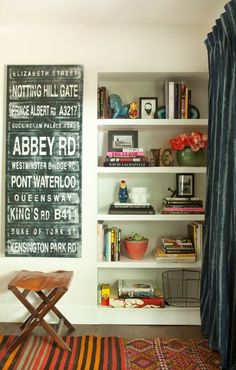 I think I want to add shelves like this to the nook in the dining area