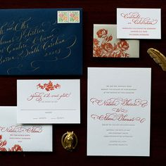 Navy and Burnt Orange Winter Wedding Stationery - Wedding Belles Blog
