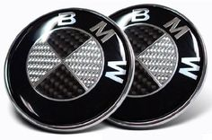 2X 82mm Real Carbon Fiber BMW Black/Silver Hood/Trunk Emblems Badges Replacement, 2016 Amazon Most Gifted Exterior Accessories  #Automotive