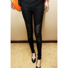 $6.38 Fashionable Faux Leather Splicing Slimming Cotton Leggings For Women