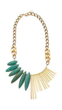 Love this! With matching earrings and ring too Gemma Redux Turquoise Asymmetrical Necklace