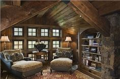What a beautiful, rustic, cozy library!  I could see this as the upper floor of a small office on the ranch.