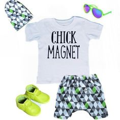 "Ooo and this flatlay tooo!!! ❤ regram @whippersnappersusa Loving this lime green summer flat lay that @littlenuggetapparel put together with our harem shorts and slouchy! You can get this awesome ""Chick Magnet"" tee or onesie in their shop!  #summertime #harems #slouchybeanie #trendykids #shopsmall #spoonflower #smukfabricdesign #trendykiddies #spoonflowered"