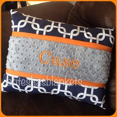 Could use orange mainly instead of grey- Navy gotcha orange trim grey minky dot pillow by SnugglyLilBabes
