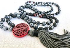 Obsidian snowflake mala necklace grey black tassel mala necklace cinnabar pendant mala necklace yoga mala meditation necklace 108 beads by Katiaicrafts on Etsy