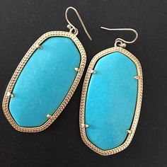 Kendra Scott Turquoise Danielle Turquoise stones with gold lining. Gorgeous pair for summer and spring Kendra Scott Jewelry Earrings