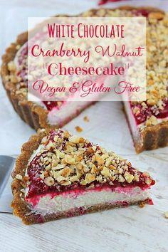 White Chocolate Cranberry Cheesecake! #glutenfree #dairyfree #eggfree #plantstrong