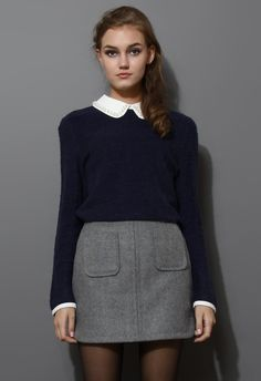 Pearly Peter Pan Collar Top in Navy Blue