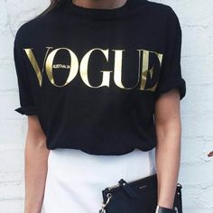 Gold Printed Vogue T