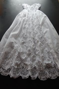 Antique French Handmade Christening Gown by Vintagefrenchlinens