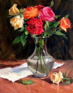 Rose Medley by Judy Crowe - Rose Medley Painting - Rose Medley Fine Art Prints and Posters for Sale