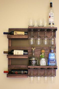 Wine rack wooden wall shelf even build