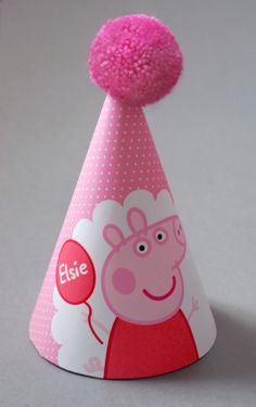 Personalised Peppa Pig Party Hats. https://www.etsy.com/uk/listing/191604501/personalised-childrens-peppa-pig?