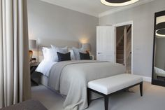 Guide To Discount Bedroom Furniture. Bedroom furnishings encompasses providing products such as chest of drawers, daybeds, fashion jewelry chests, headboards, highboys and night stands. Home Bedroom, Modern Bedroom, Bedroom Furniture, Bedroom Decor, Bedroom Carpet, Furniture Sets, Hotel Room Design, Spare Room, Beautiful Bedrooms