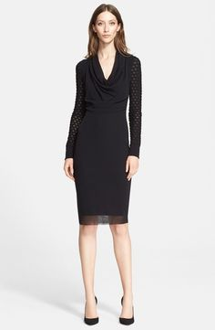 Cowl Neck Long Sleeve Tulle Dress (Nordstrom Exclusive)